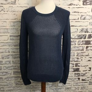 Athleta Blue Sweater Small S Open Knit Pullover